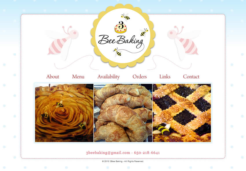 Página interna do site 3 Bee Baking